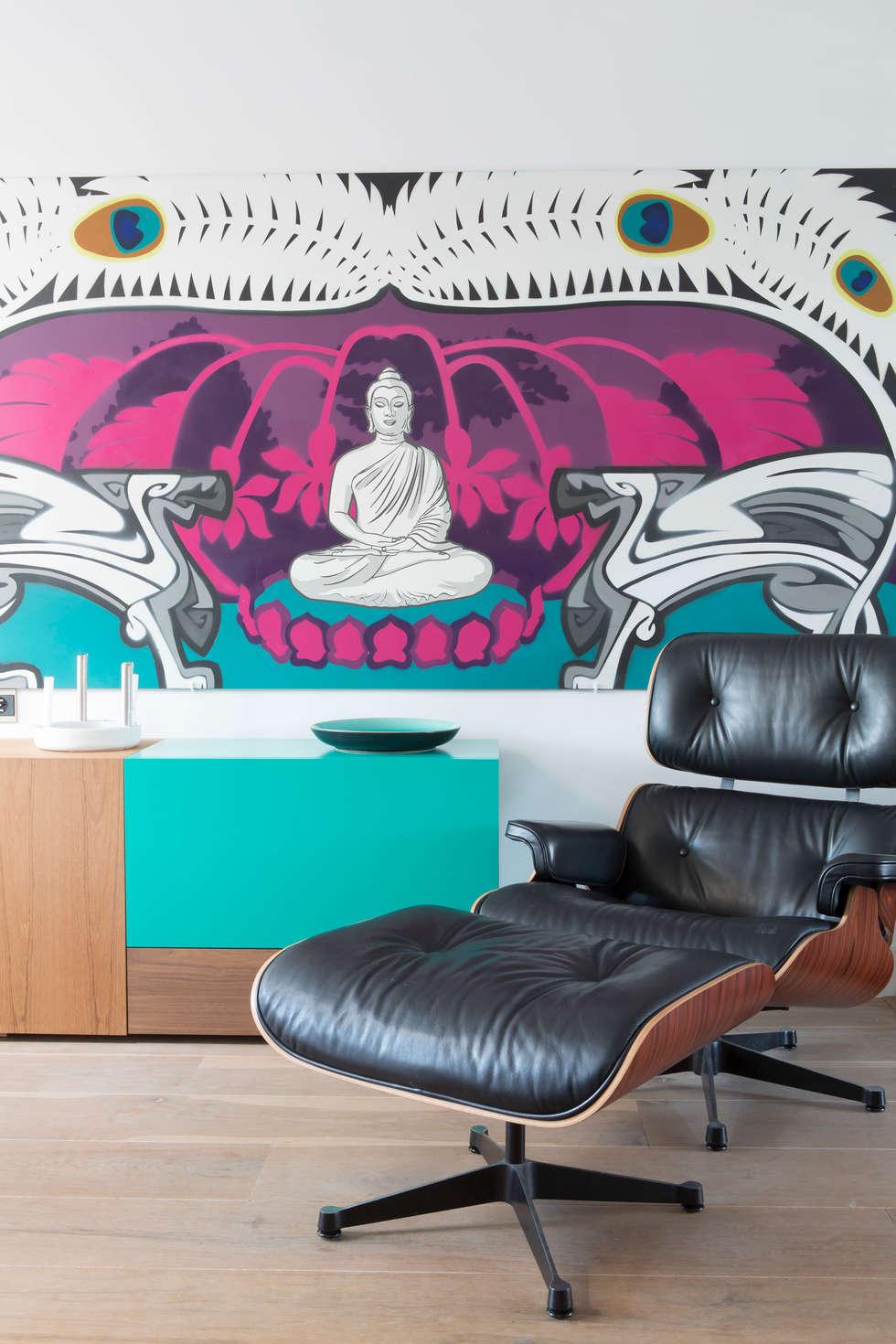 huiskamer: moderne Woonkamer door IJzersterk interieurontwerp
