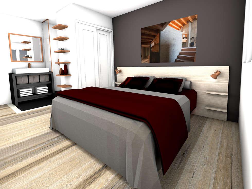 suite parentale avec sa salle d 39 eau attenante chambre de style de style moderne par dem design. Black Bedroom Furniture Sets. Home Design Ideas