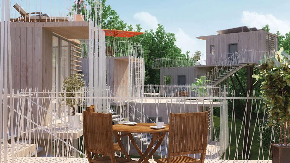 Maisons dans les arbres - vue depuis les terrasses: Terrasse de style  par Pepindebanane