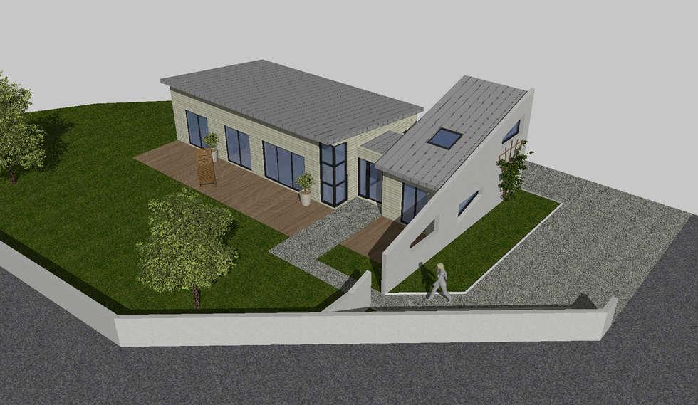 Perspective du projet: Maisons de style de style Moderne par Agence Desheulles-Jourdan