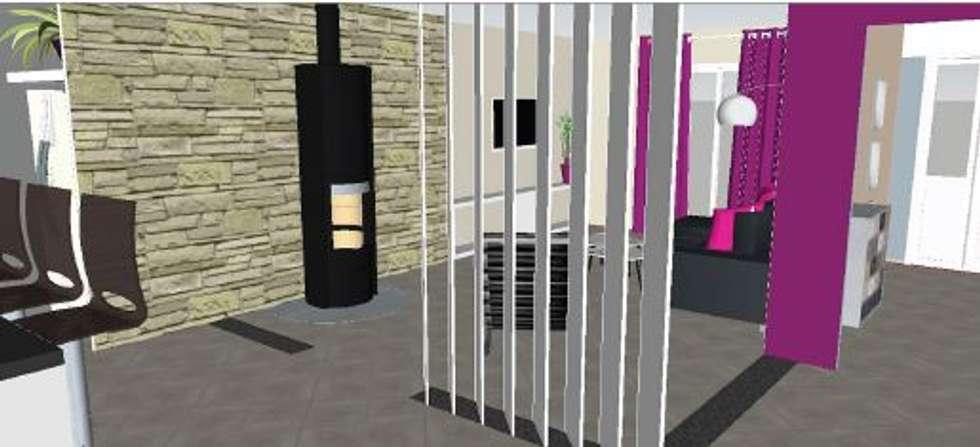 Vue aménagement salon: Salon de style de style Moderne par jennifer andrieu