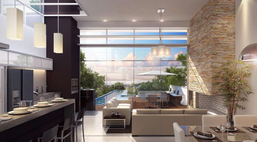 Vista panorâmica estar: Salas de estar modernas por Biehl Arquitetura