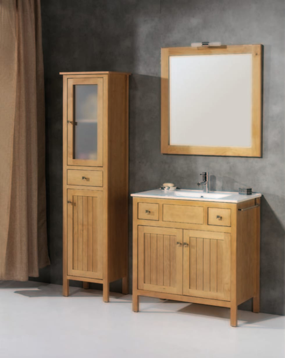 Mueble de baño Burgos de 80 Cera: Baños de estilo rústico de Bañoweb