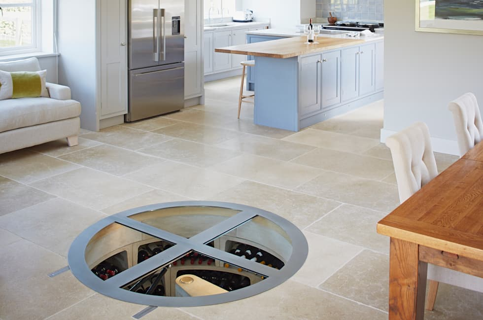 modern wine cellar photos: round hinged glass trap door and