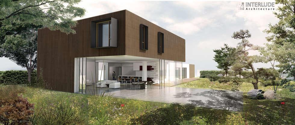 Vue sur la terrasse: Maisons de style de style Moderne par Interlude Architecture