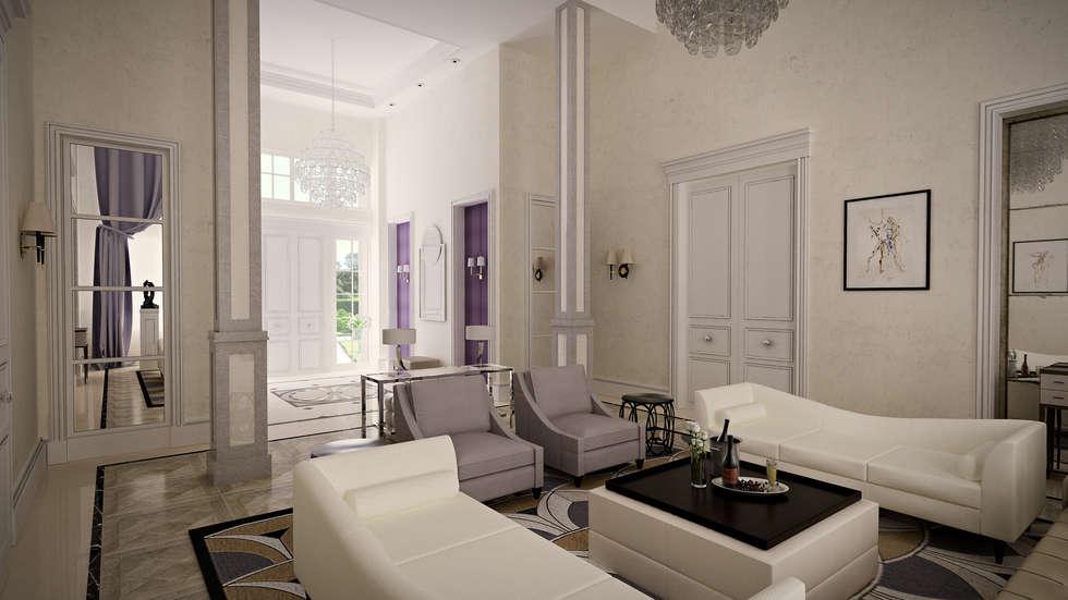 Проект загородного дома: Гостиная в . Автор – Roberts Design