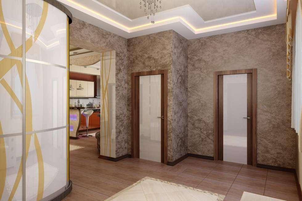 Современная кухня с барной стойкой: Коридор и прихожая в . Автор – Дизайн студия 'Exmod' Павел Цунев