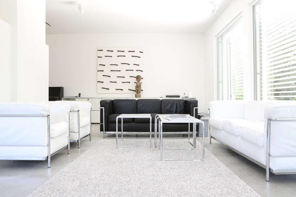 minimalistische wohnzimmer bilder wohnbereich bauhaus villa in m nchen homify. Black Bedroom Furniture Sets. Home Design Ideas