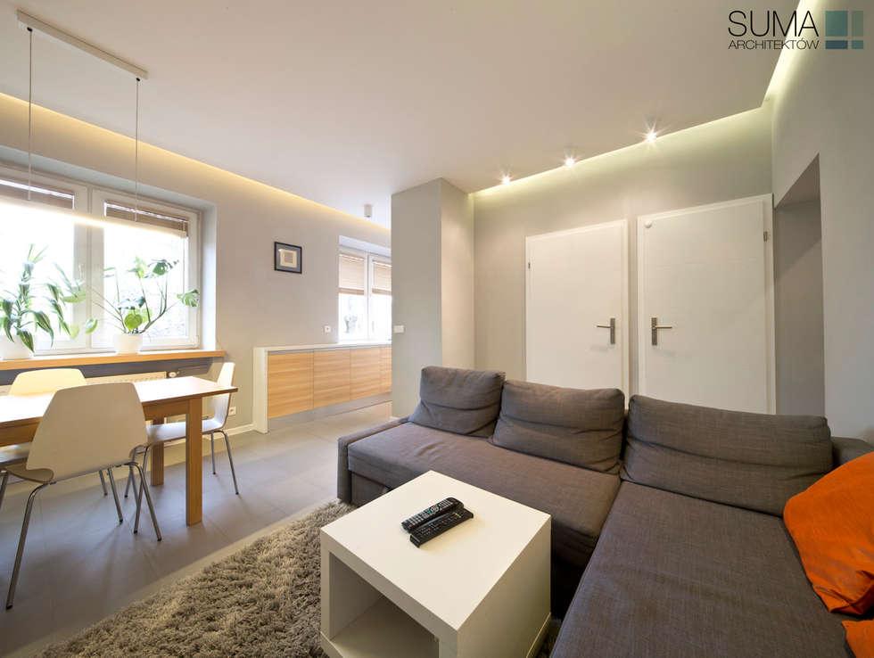 FAMILY_ONE: styl , w kategorii Salon zaprojektowany przez SUMA Architektów