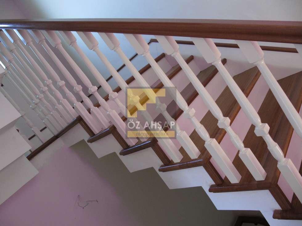 ÖZ AHŞAP MERDİVEN – Dubleks merdiven ve küpeşte resimleri:  tarz Koridor ve Hol