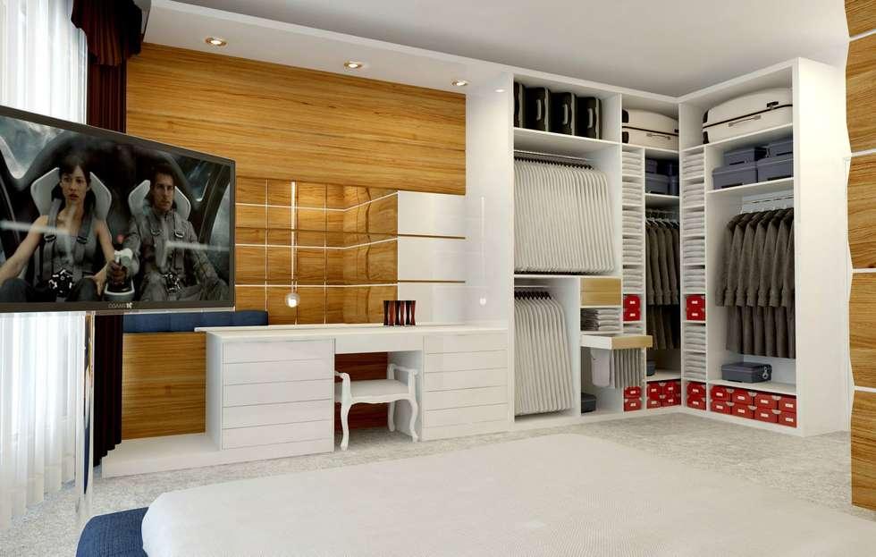 GN İÇ MİMARLIK OFİSİ – Yatak Odası Soyunma Kabini: modern tarz Yatak Odası