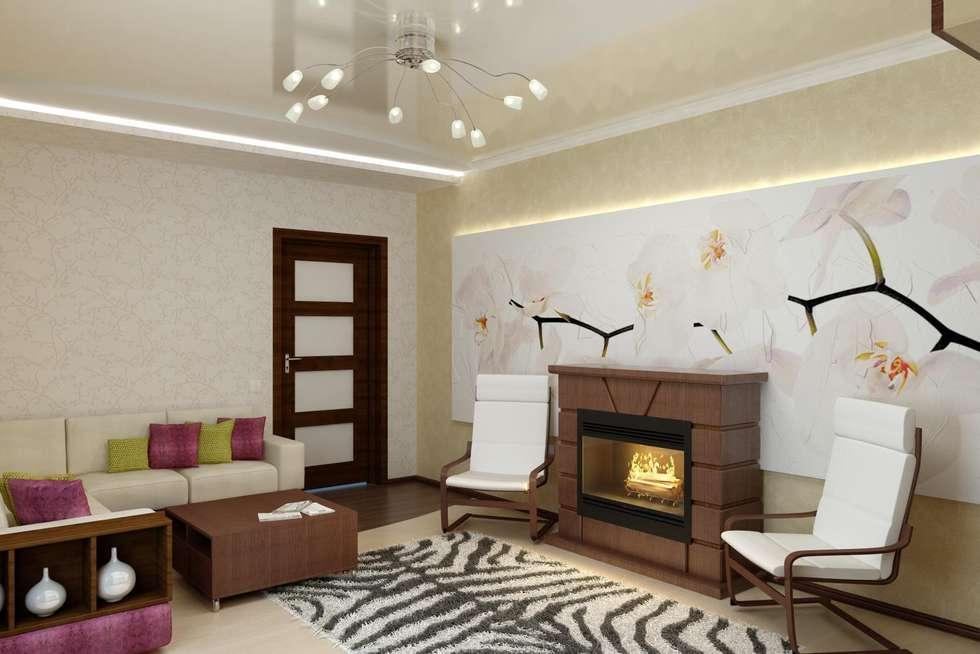 Дизайн гостиной в современной классике.: Гостиная в . Автор – Дизайн студия 'Exmod' Павел Цунев