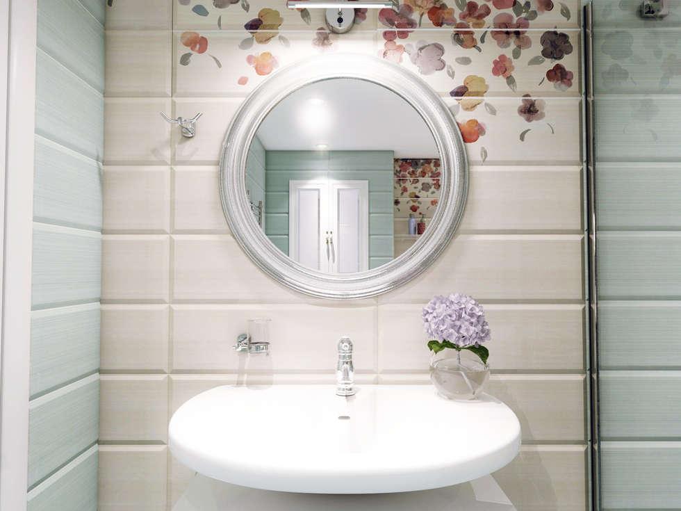 Атмосфера весны в однокомнатной квартире: Ванные комнаты в . Автор – Volkovs studio
