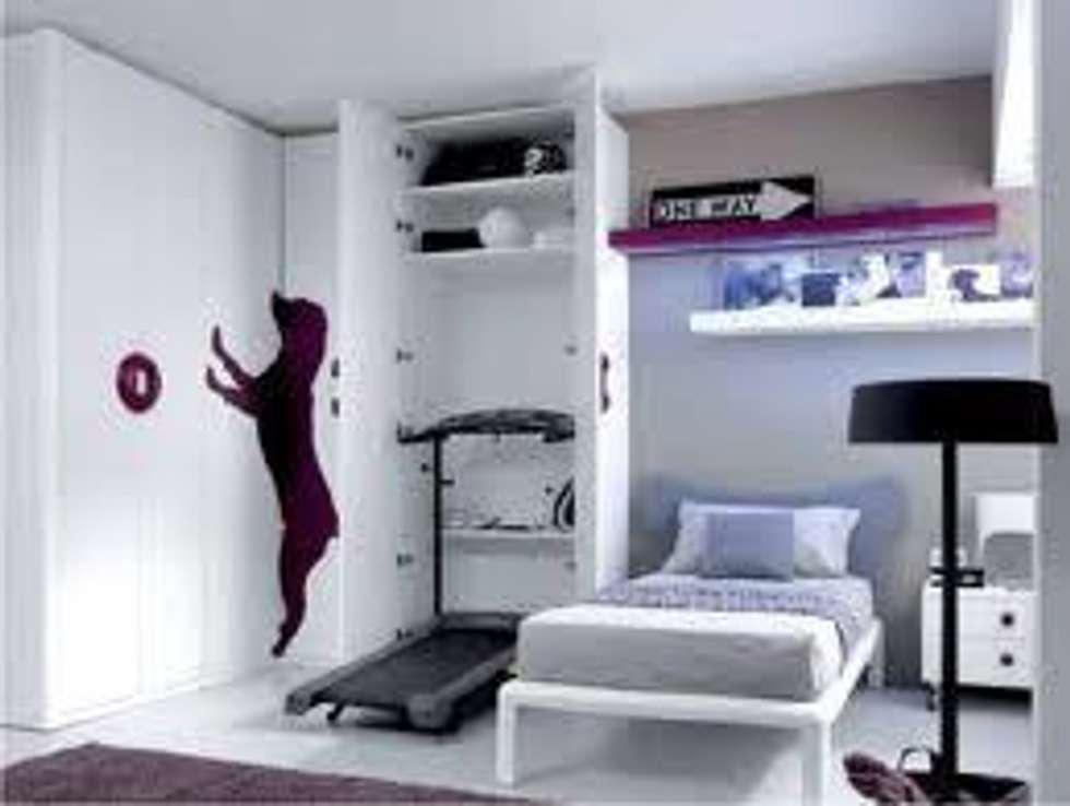 Cameretta con palestra nascosta camera da letto in stile - Letto incassato nell armadio ...