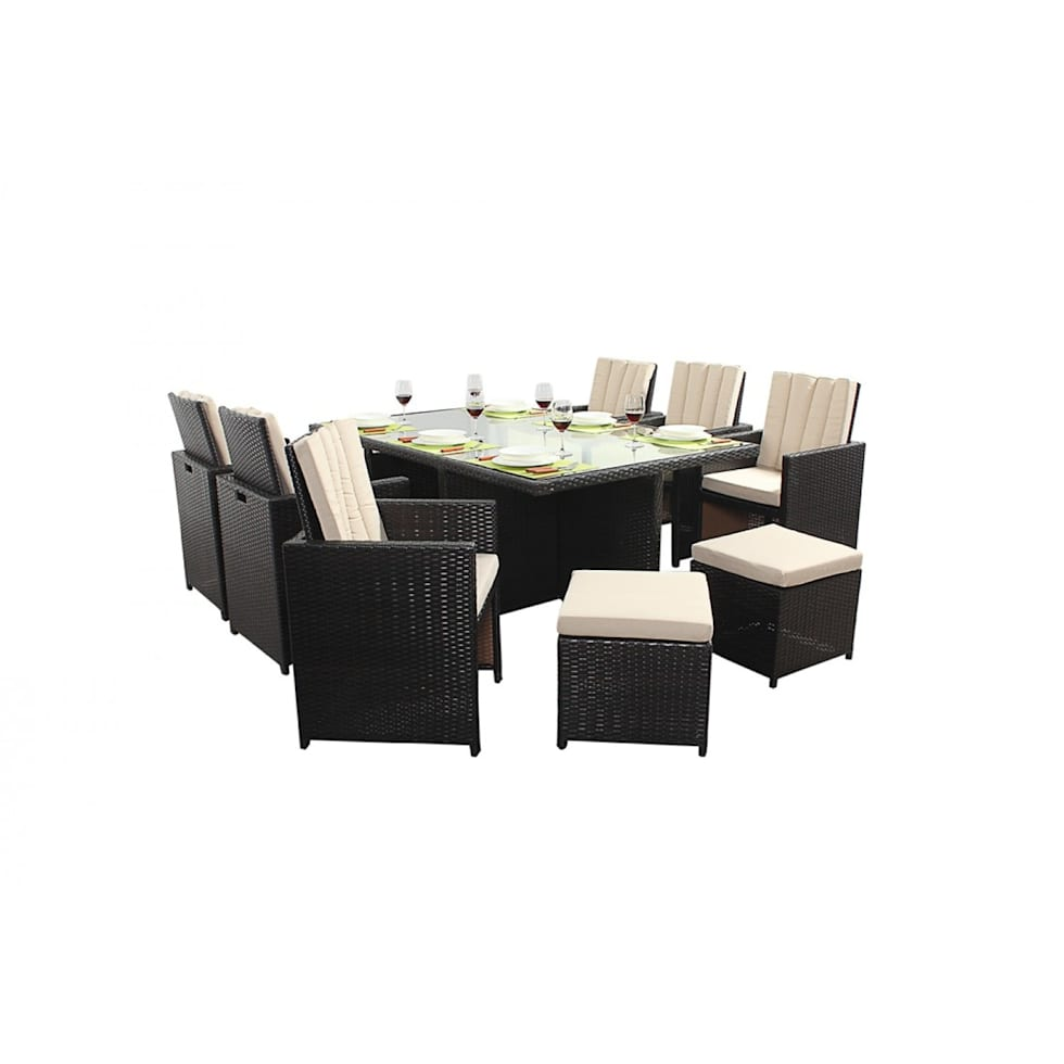 Interior design ideas architecture and renovating photos  : Bonsoni Cube 6 Piece Dining Set Includes a Glass Top Table Six armchairs With Extendable Back Rests and Four Footstools Rattan Garden Furniture 38 from www.homify.com size 980 x 980 jpeg 33kB