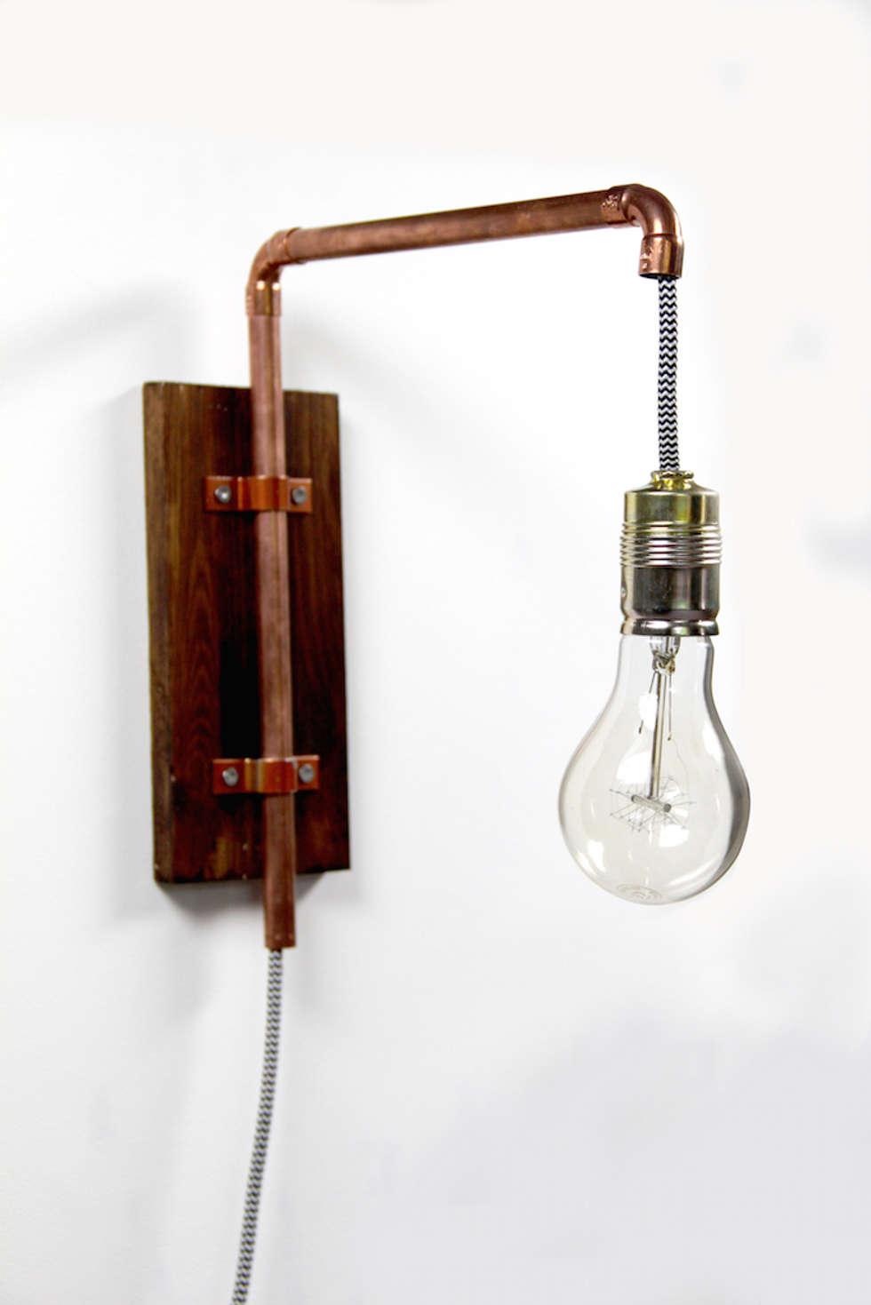 wandlampe industrial design aus kupfer industriale wohnzimmer von kupferkult homify. Black Bedroom Furniture Sets. Home Design Ideas