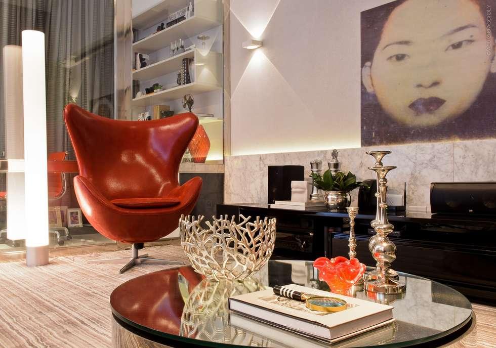 LIVING: Salas de estar modernas por criarprojetos   ARQUITETURA . INTERIORES . ENGENHARIA