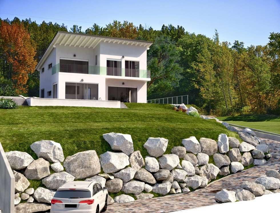 Haas Fertigbau case prefabbricate in legno: Casa personalizzata: Case in stile in stile Minimalista di tre.digital