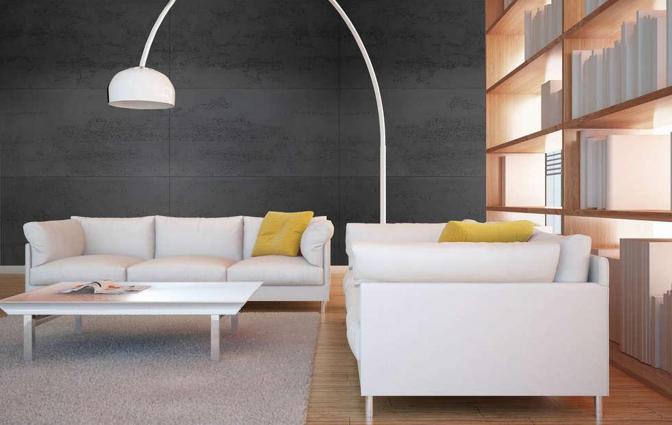 Beton architektoniczny w salonie - antracyt: styl , w kategorii Salon zaprojektowany przez Luxum