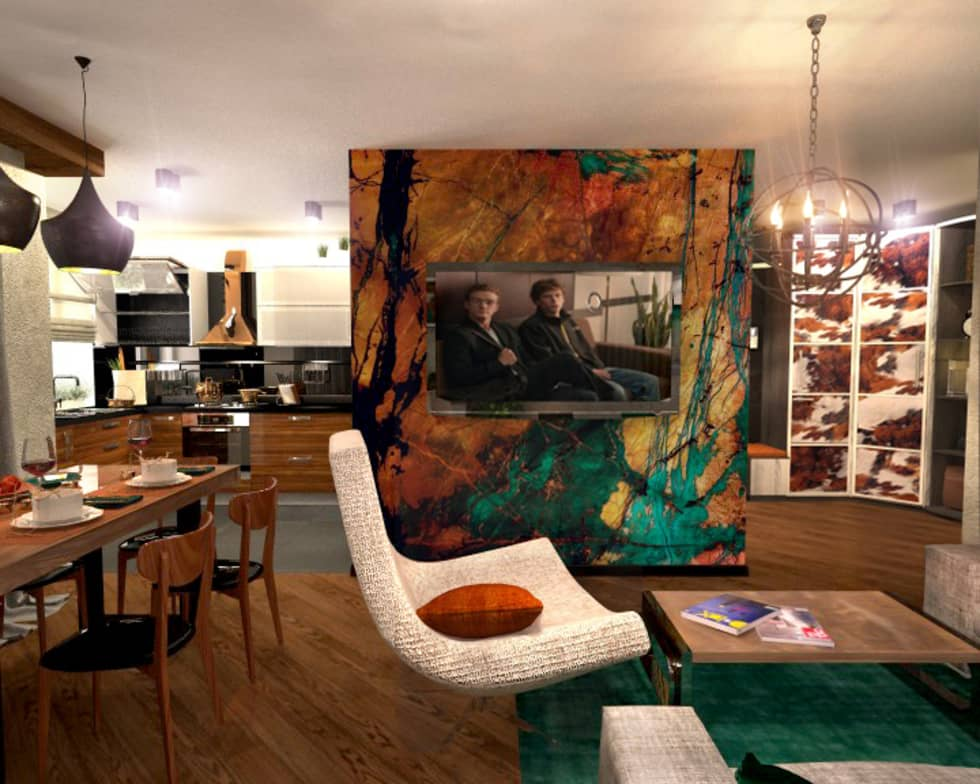 Гостиная 2: Гостиная в . Автор – Inna Katyrina & 'A-LITTLE-GREEN' studio interiors