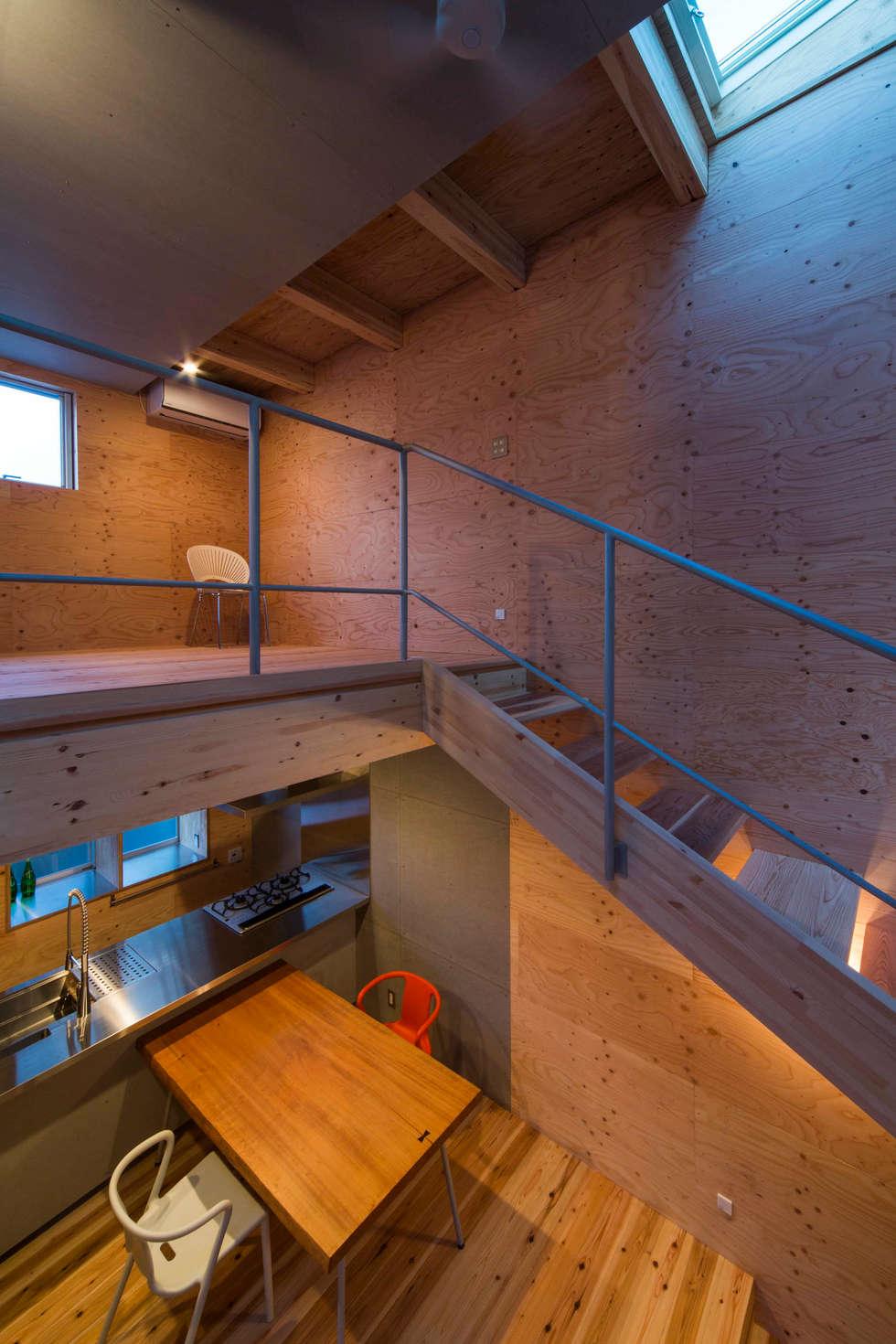 階段と寝室: アトリエセッテン一級建築士事務所が手掛けた壁です。