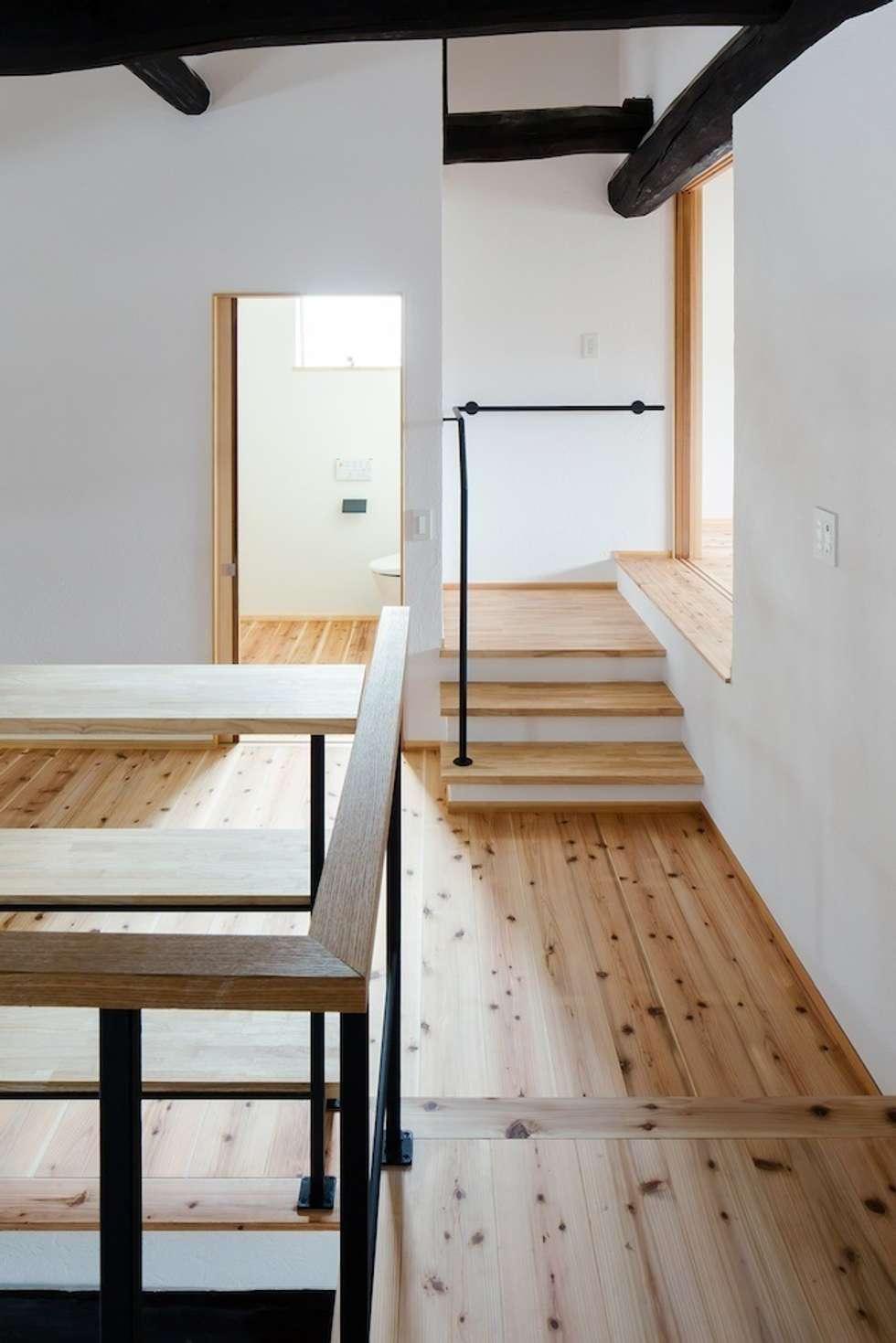 花しょうぶ通りの家・ステップ: タクタク/クニヤス建築設計が手掛けた廊下 & 玄関です。