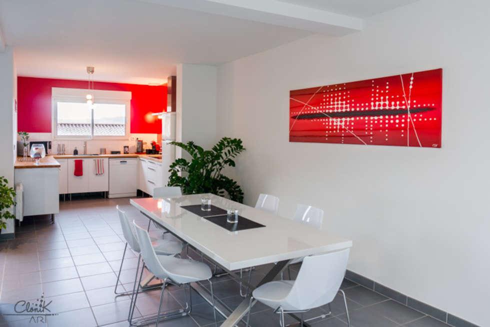 """Tableau contemporain Clonik Art rouge et """"Pixel"""" N°107: Cuisine de style de style Moderne par Clonik Art"""