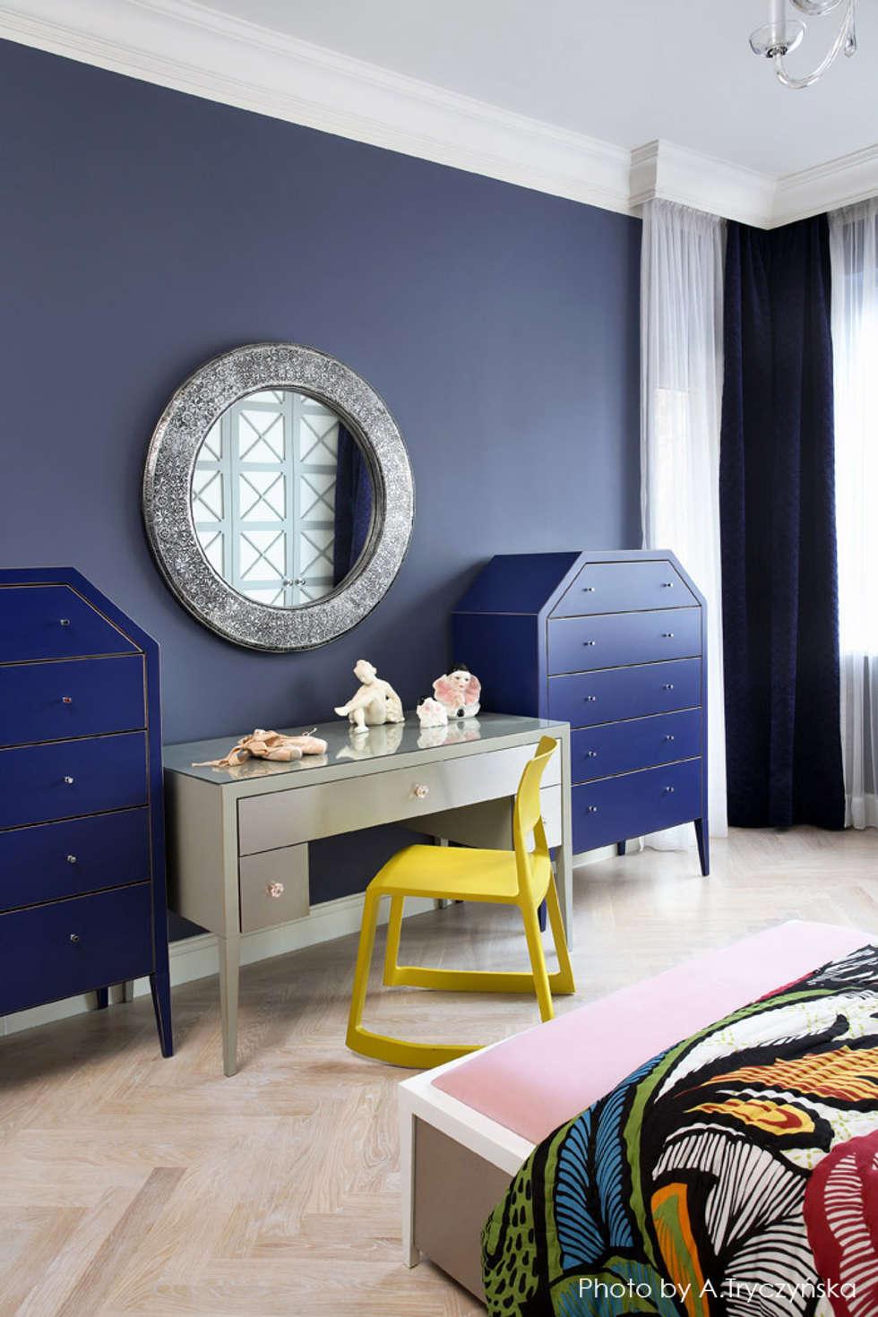 Granatowe wnętrze sypialni: styl , w kategorii Sypialnia zaprojektowany przez MG Interior Studio Michał Głuszak