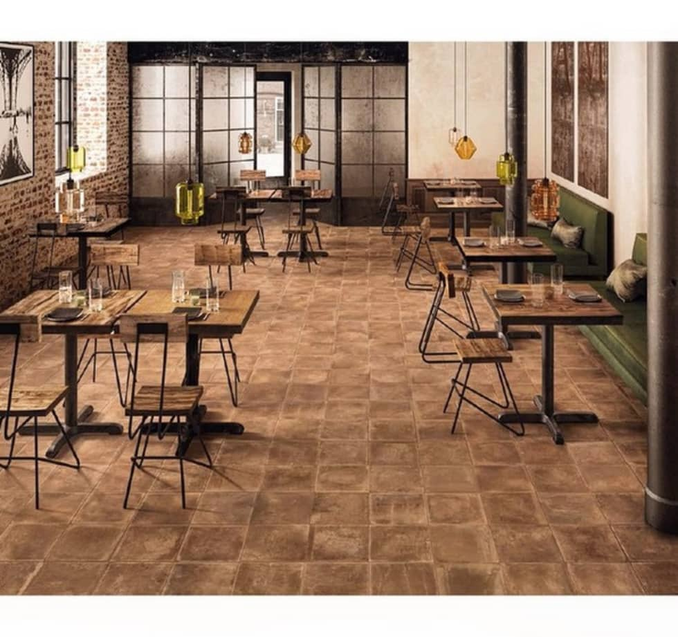 Plaza Yapı Malzemeleri – Beton Görününümlü İtalyan yer seramikleri:  tarz Yeme & İçme