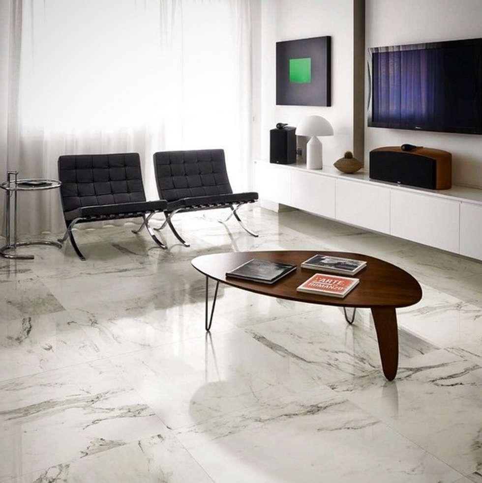 Plaza Yapı Malzemeleri – Mermer Görününümlü İtalyan Seramik: modern tarz Oturma Odası