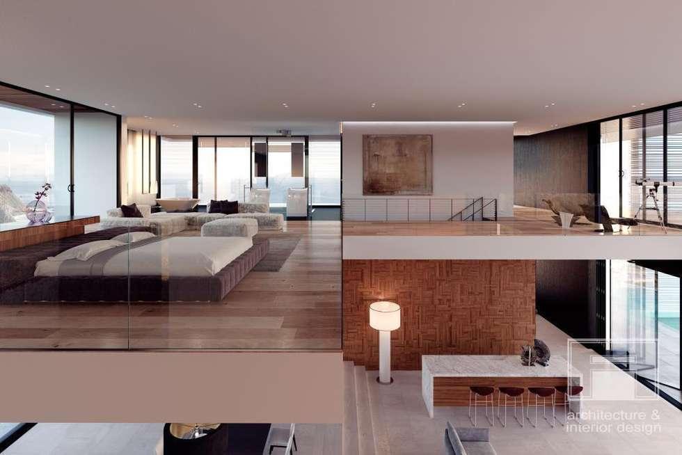 Море Вокруг. Архитектурное решение + Интерьер дома (1000м2): Спальни в . Автор –  i-project