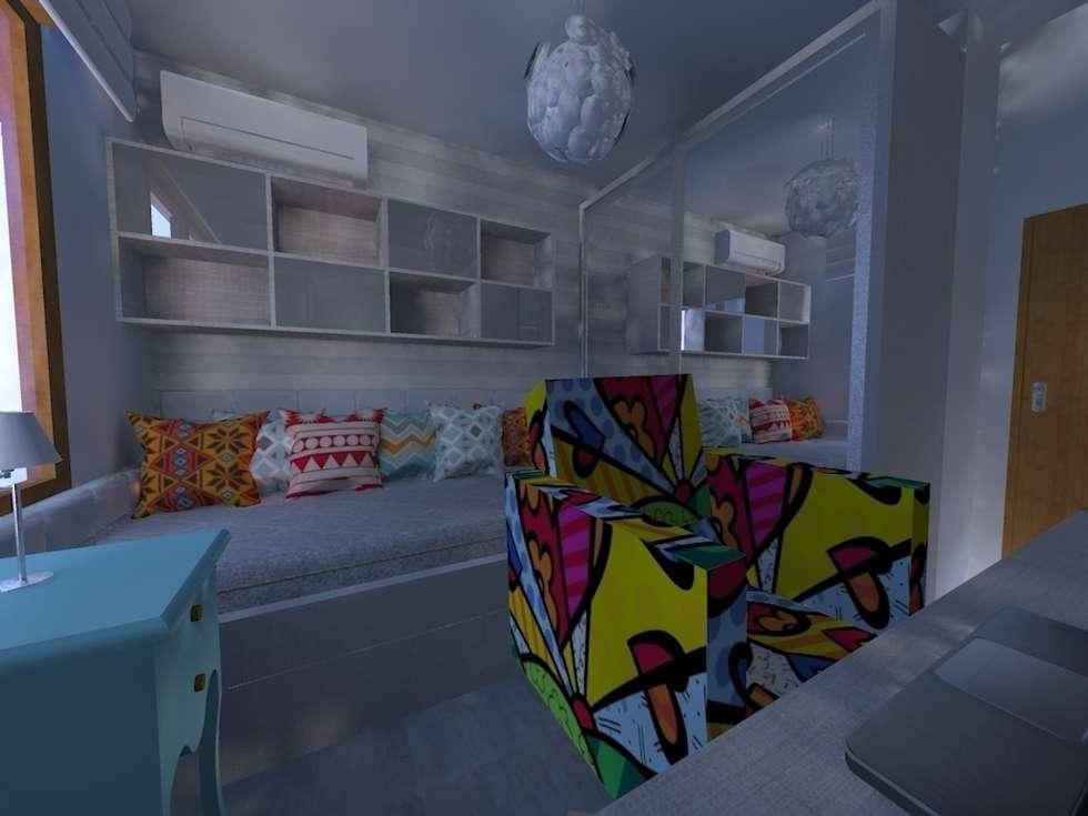 Dormitório feminino jovem: Quartos  por Elaine Medeiros Borges design de interiores