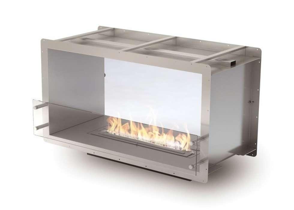 Eco Smart Fire 1000DB dwustronny, elegancki wkład do zabudowy: styl , w kategorii Sypialnia zaprojektowany przez ilumia.pl