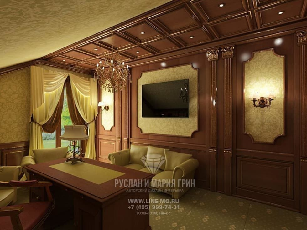 Интерьер кабинета в дизайне дома из бруса: Рабочие кабинеты в . Автор – Студия дизайна интерьера Руслана и Марии Грин