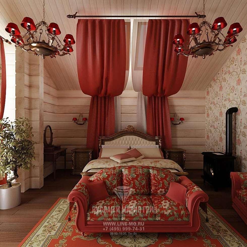 Интерьер спальни в дизайне дома из бруса: Спальни в . Автор – Студия дизайна интерьера Руслана и Марии Грин