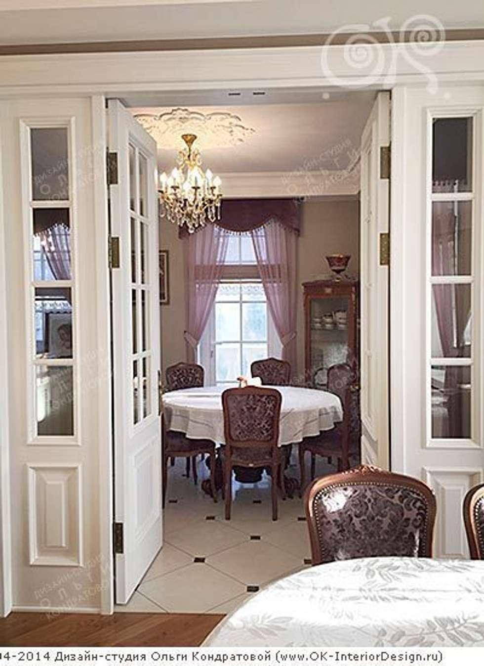 Столовая в интерьере дома: Столовые комнаты в . Автор – Дизайн студия Ольги Кондратовой