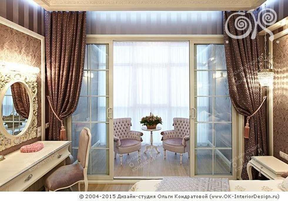 Интерьер балкона в спальне в квартире на Мытной: Tерраса в . Автор – Дизайн студия Ольги Кондратовой