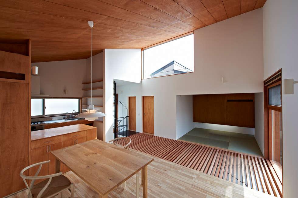 二階を見渡す: (有)菰田建築設計事務所が手掛けたリビングです。