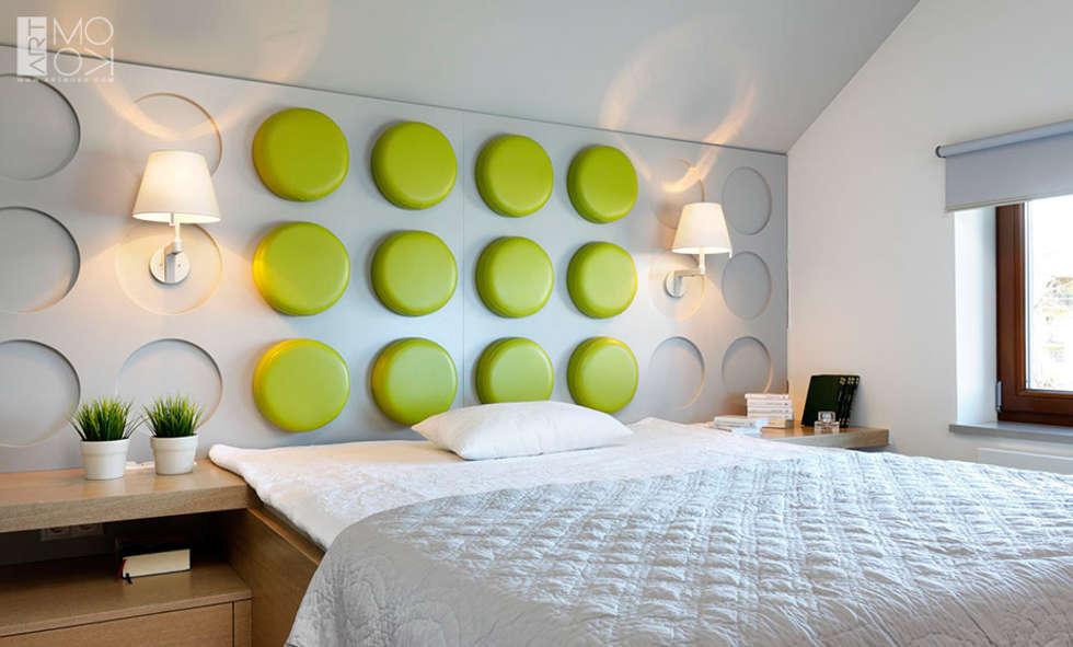 Nowoczesne wezgłowie: styl , w kategorii Sypialnia zaprojektowany przez Pracownia projektowa artMOKO