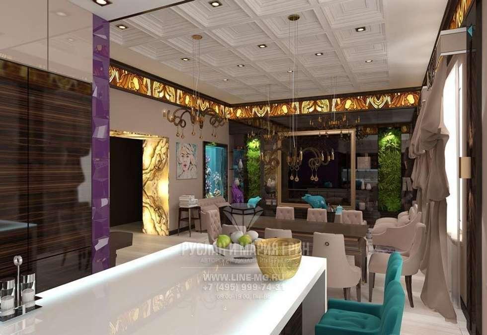 Интерьер столовой зоны в квартире: Столовые комнаты в . Автор – Студия дизайна интерьера Руслана и Марии Грин