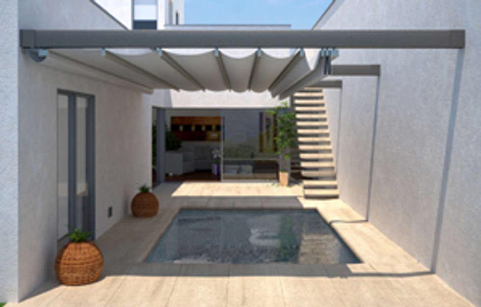 prgola de aluminio entre dos paredes balcones y terrazas de estilo de comercial mecanotoldo