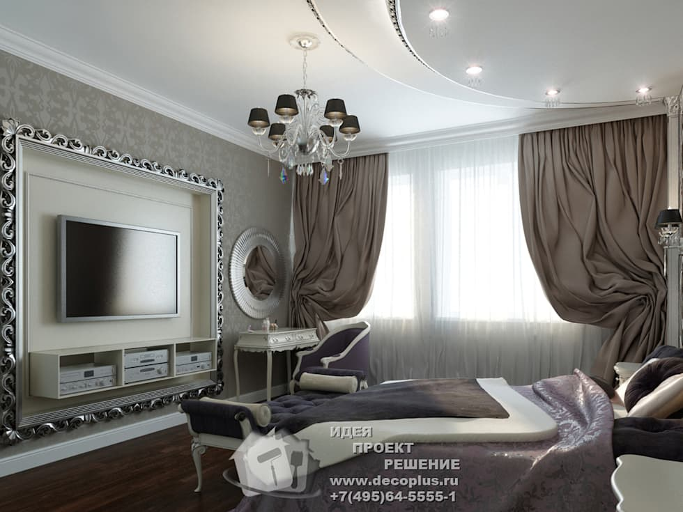ТВ-зона и туалетный столик в спальне: Спальни в . Автор – Бюро домашних интерьеров