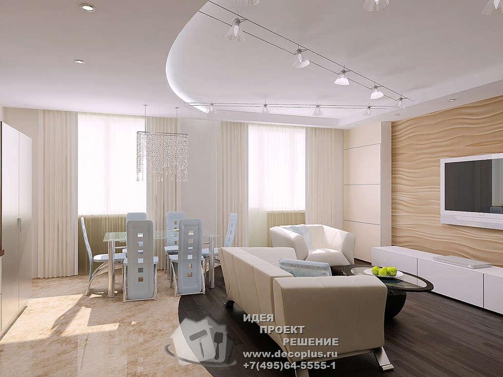 Фото интерьера гостиной-кухни-столовой: Столовые комнаты в . Автор – Бюро домашних интерьеров