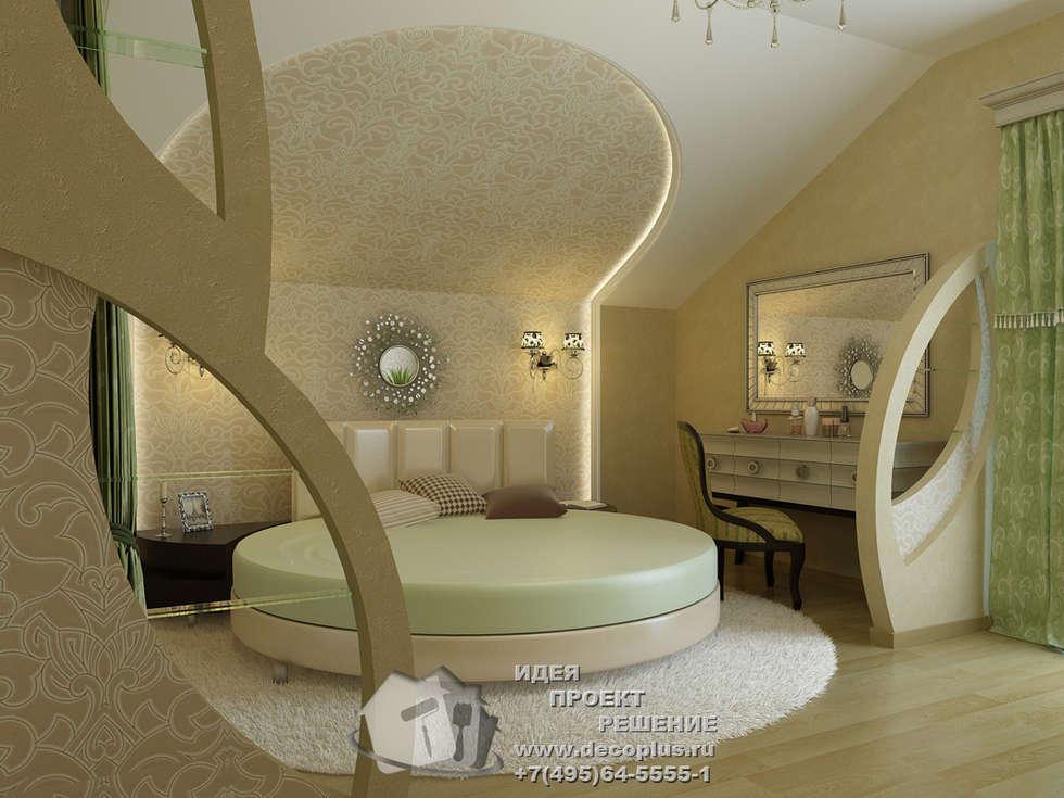 Фото интерьера спальни с круглой кроватью: Спальни в . Автор – Бюро домашних интерьеров