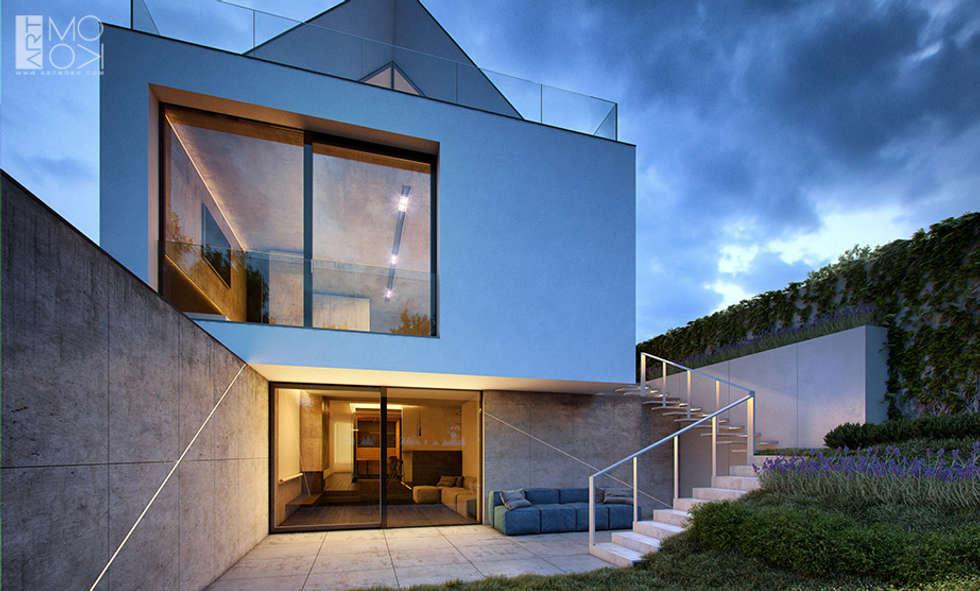 Taras łączący rezydencję z ogrodem: styl nowoczesne, w kategorii Domy zaprojektowany przez Pracownia projektowa artMOKO