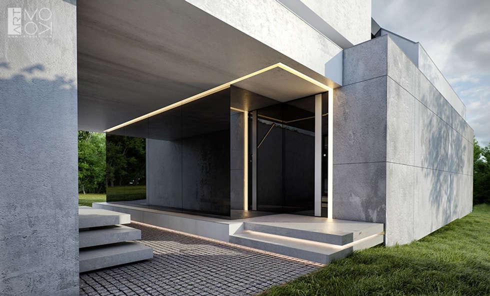 Wejście do nowoczesnej rezydencji: styl nowoczesne, w kategorii Domy zaprojektowany przez Pracownia projektowa artMOKO
