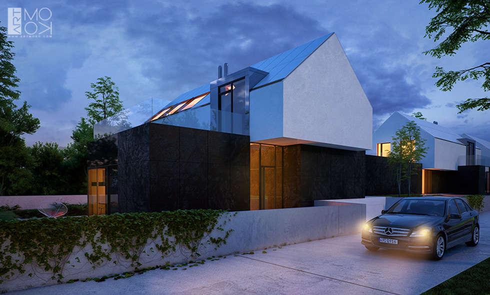 Minimalistyczna elewacja budynków: styl nowoczesne, w kategorii Domy zaprojektowany przez Pracownia projektowa artMOKO