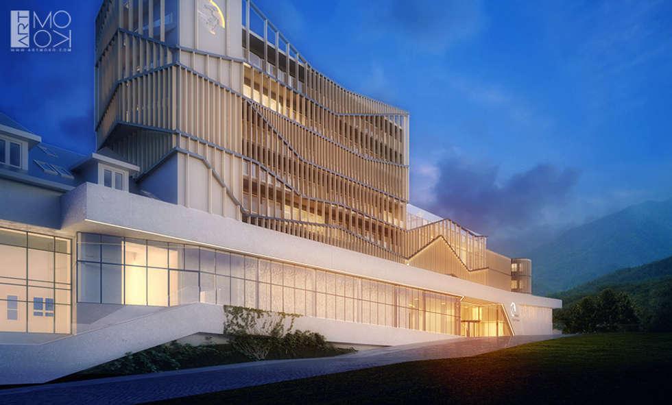 Drewniane elementy elewacji: styl , w kategorii Hotele zaprojektowany przez Pracownia projektowa artMOKO