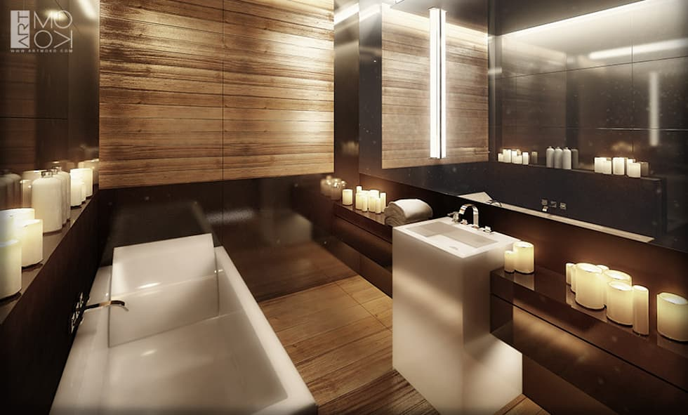 Łazienka apartamentu hotelowego: styl , w kategorii Kliniki zaprojektowany przez Pracownia projektowa artMOKO