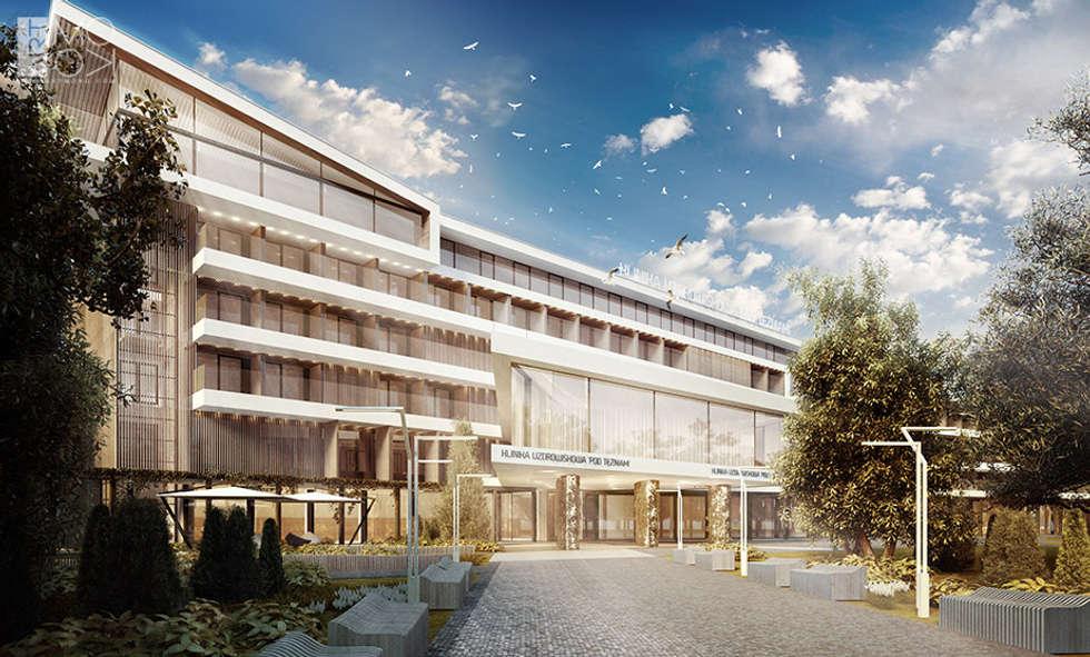 Nowoczesna elewacja kliniki: styl , w kategorii Kliniki zaprojektowany przez Pracownia projektowa artMOKO